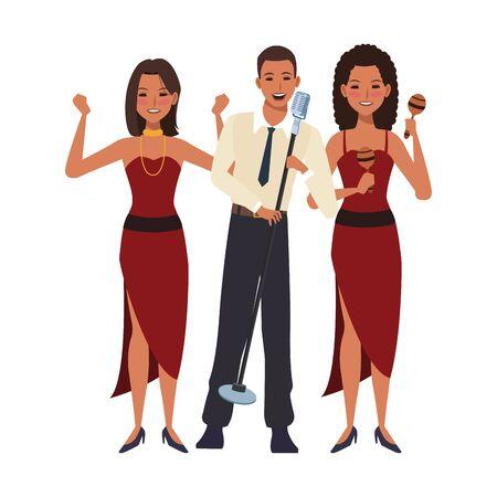 dessin animé, chanteur, homme, et, femmes, danseurs, sur, fond blanc, vecteur, illustration