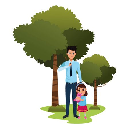 Family single father with little daughter cartoon in nature outdoors scenery ,vector illustration graphic design.