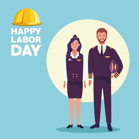 happy labor day usa celebration card, tribute to professional workers, jobs characters with worker helmet ,vector illustration graphic design.