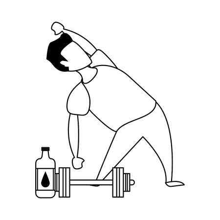 fitness sport heatlhy lifestyle, man doing workout exercise routine cartoon vector illustration graphic design
