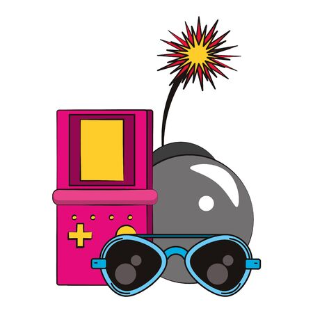 retro glasses and videogame bomb with burning fuse over white background, vector illustration Vettoriali