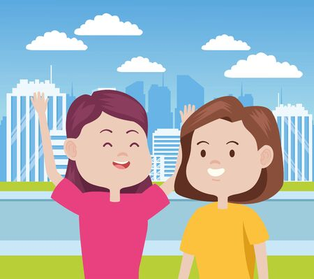 young women characters in the city vector illustration design Stock Illustratie