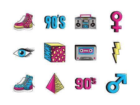 bundle of nineties set icons vector illustration design
