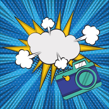 poster pop art style with camera photographic vector illustration design