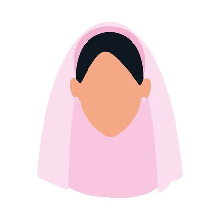 avatar woman with veil icon over white background, vector illustration