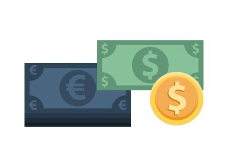 euro and dollars bills with coin money vector illustration design