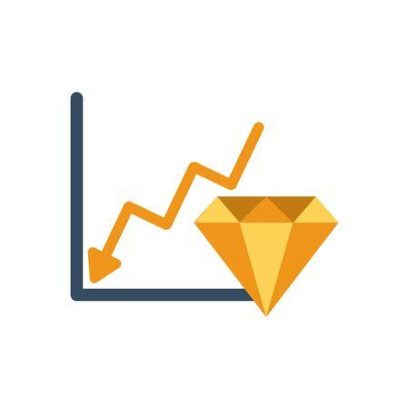 financial statistics graphic with golden diamond vector illustration design