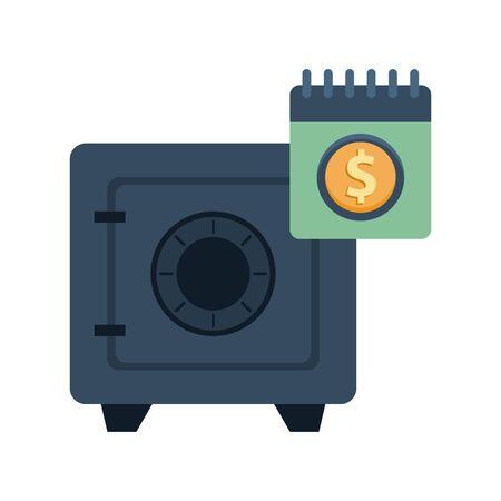 safe box money with calendar vector illustration design