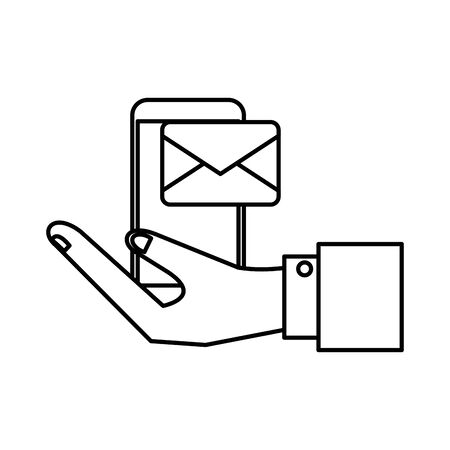hand lifting smartphone with envelope email vector illustration design