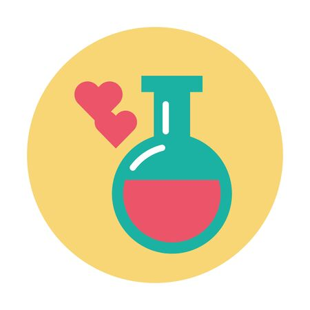 tube test with heart love potion vector illustration design