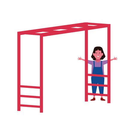 happy girl playing on a Horizontal Ladder Playground icon over white background, vector illustration Illusztráció