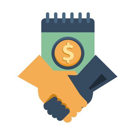 calendar with dollar symbol and handshake vector illustration design Çizim