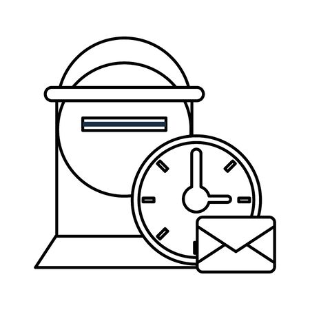 street mailbox postal service with clock vector illustration design Vektoros illusztráció
