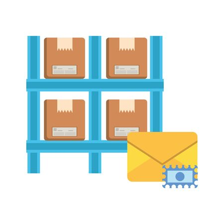 shelving with boxes packing postal service vector illustration design