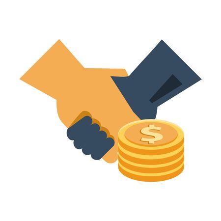 coins dollars money with handshake vector illustration design Çizim