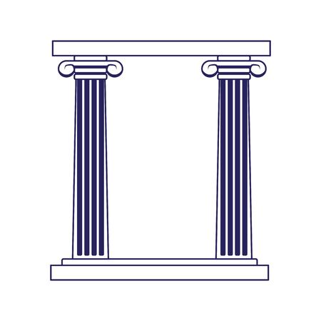 arch of columns icon over white background, vector illustration