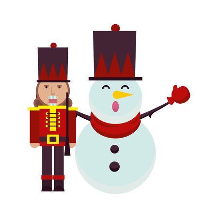 christmas snowman and nutcracker characters vector illustration design