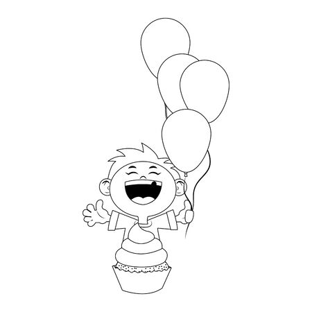 cartoon happy boy with balloons and cupcake icon over white background, flat design, vector illustration 矢量图像