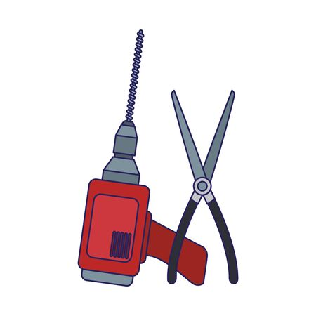 drill and pliers tool over white background, vector illustration