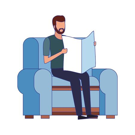 man reading a newspaper sitting on couch icon over white background, vector illustration