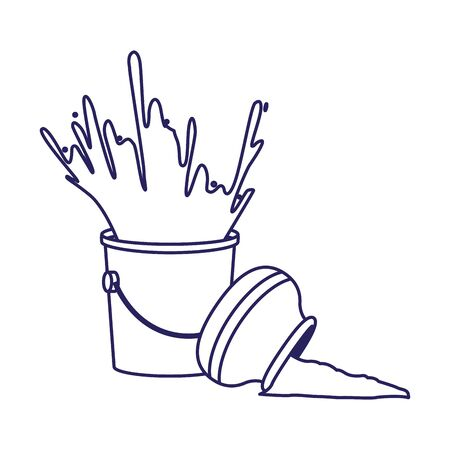 paint bucket and bowl with powder over white background, flat design, vector illustration