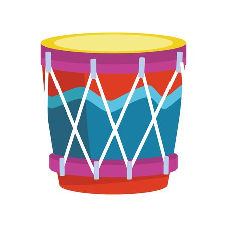 colorful drum icon over white background, vector illustration