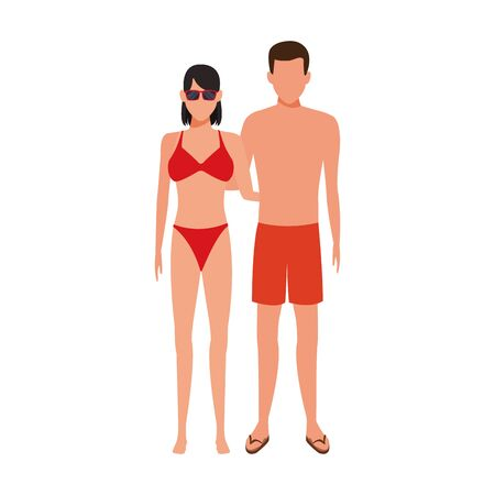 avatar woman wearing bikini and man with swimsuit icon over white background, vector illustration