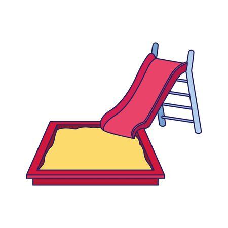 playground slide and sandbox over white background, vector illustration