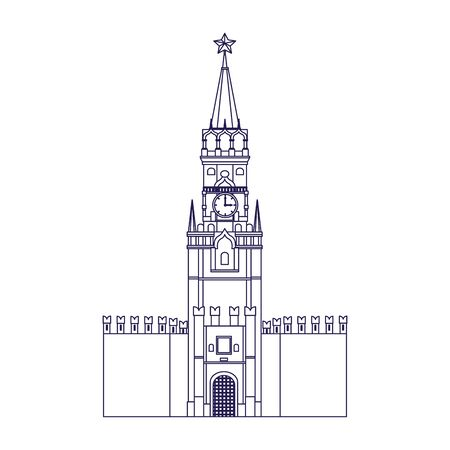 Russian kremlin icon over white background, vector illustration Иллюстрация