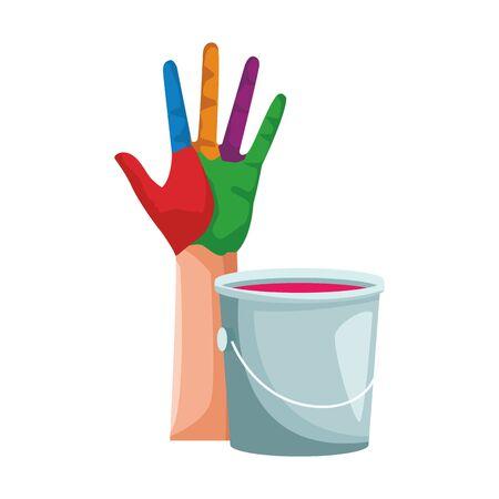 bunte Hand mit Farbeimer-Symbol auf weißem Hintergrund, flaches Design, Vektorillustration