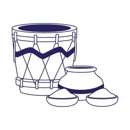 drum instrument and bowl with holi powder over white background, flat design, vector illustration Illusztráció