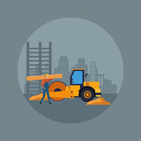 under construction scenery with road roller truck and builder working over gray background, colorful design, vector illustration