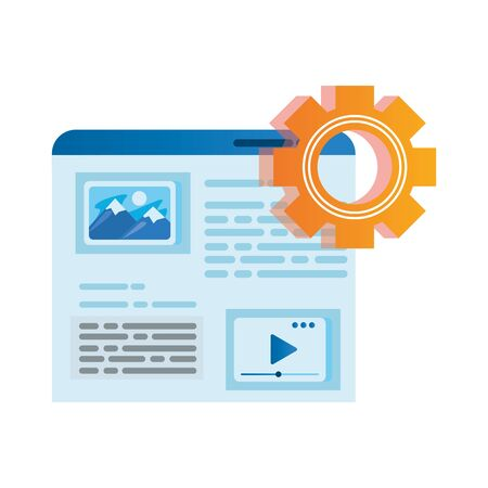 template webpage window with gear vector illustration design