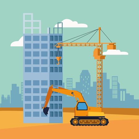 excavator truck and crane over under construction scenery, colorful design, vector illustration