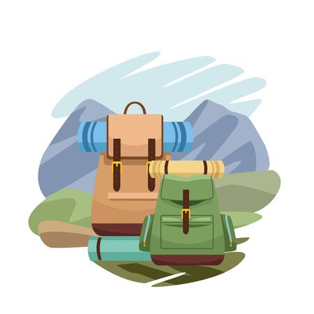 travel backpacks with sleeping bags over over landscape and white background, colorful design, vector illustration
