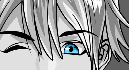 face young man monochrome anime style character vector illustration design  イラスト・ベクター素材