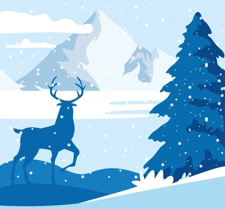forest snowscape scene with deer silhouette vector illustration design Illustration