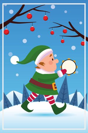 merry christmas card with santa claus elf helper playing tambourine vector illustration Stock Illustratie