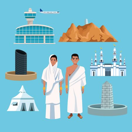 muslims persons in hajj mabrur travel set icons vector illustration design