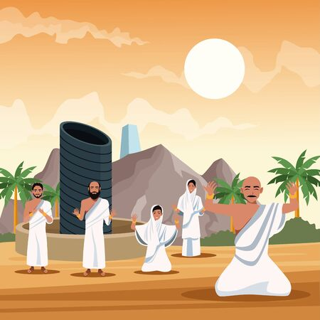 muslims persons in hajj mabrur travel celebration vector illustration design