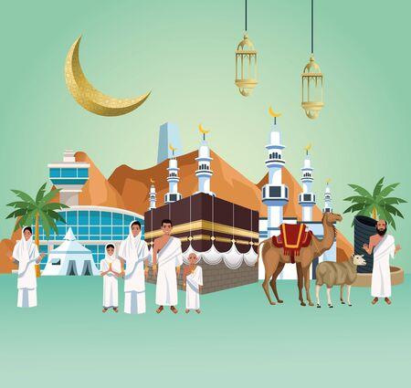 穆斯林人在麦加朝圣马布鲁尔旅行庆祝矢量插图设计