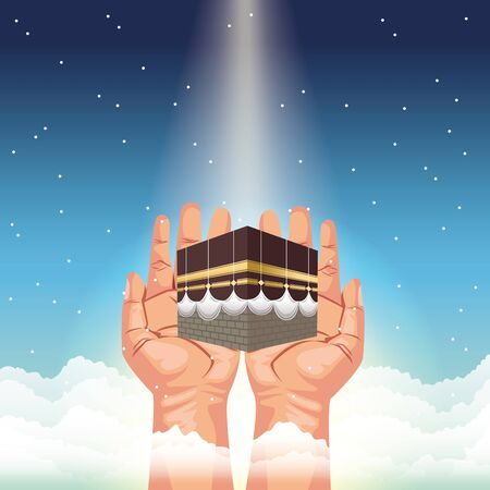 hajj mabrur celebration with hands lifting mataf vector illustration design