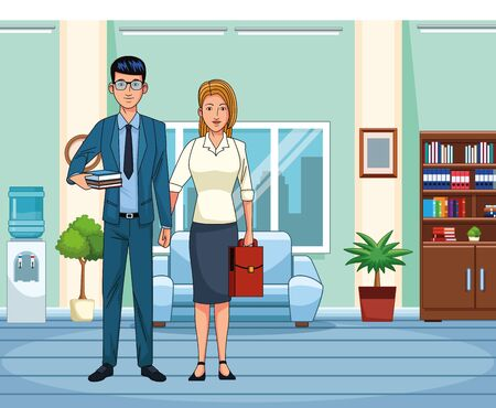cartoon business couple at office scenery, colorful design , vector illustration Stock Illustratie