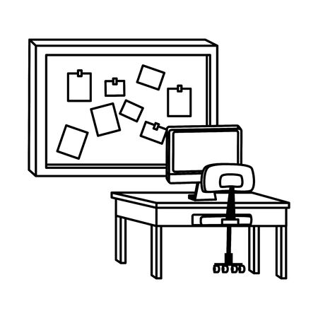 Office and workplace elements computer on desk with chair and corkboard with notes cartoons ,vector illustration graphic design. Illustration