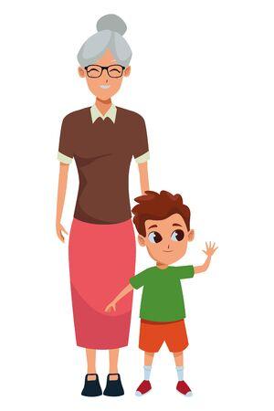 Family grandmothertaking care of grandson cartoon vector illustration graphic design