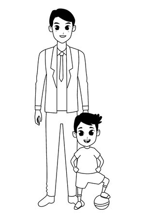 Family single father with little son with ball cartoon vector illustration graphic design