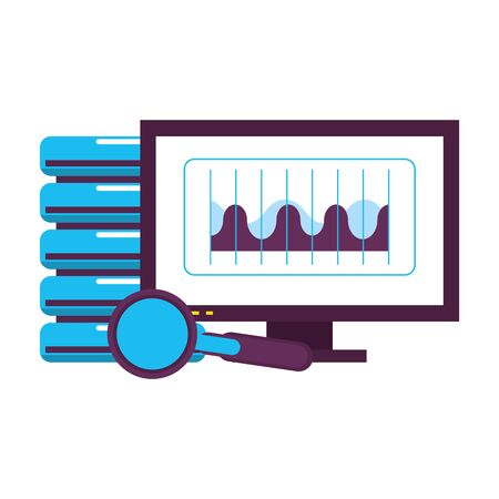 computer screen technology hardware looking information in database graphics cartoon vector illustration graphic design