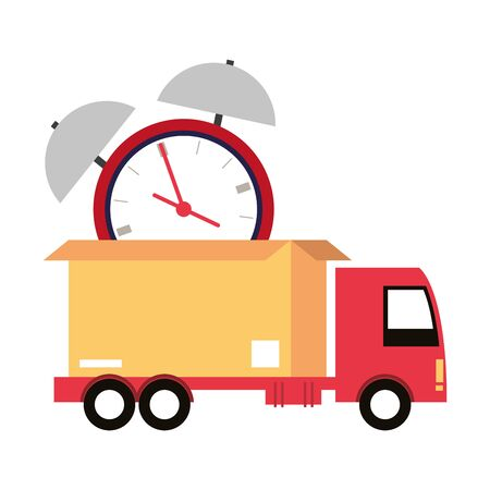 logistic and delivery shipping with truck carrying merchandise timely cartoon vector illustration graphic design
