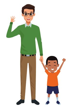 Family single father and little son smiling cartoon vector illustration graphic design