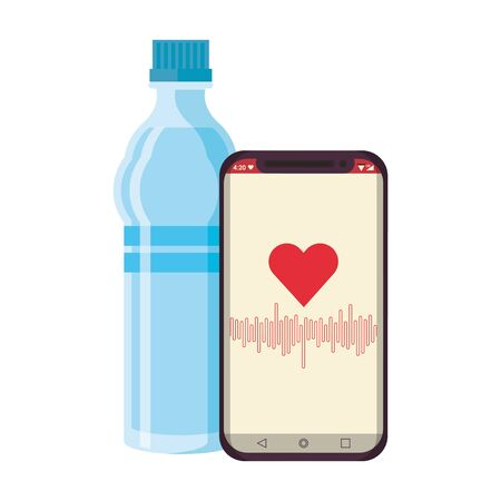 Equipo de fitness entrenamiento salud y agua frasco smarthphone con símbolos de la aplicación de salud ilustración vectorial diseño gráfico Ilustración de vector